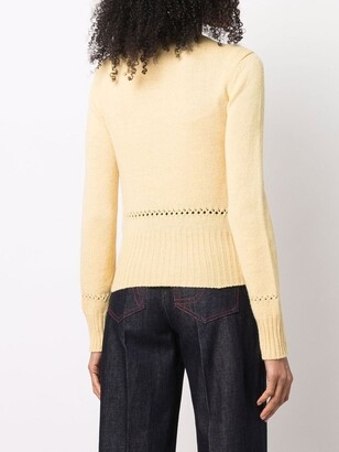Chloé Open-Knit Panel Long-Sleeve Jumper