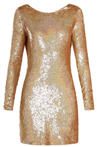 Ashish Cowl-back Sequin-embellished Long-sleeved Dress - Womens - Gold