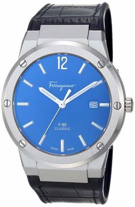 Salvatore Ferragamo Stainless Steel Analog Quartz Watch with Leather/Silicone Strap Blue/Black 21.4 (Model: 7630030546839)