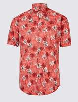 Marks and Spencer Cotton Rich Slim Fit Palm Print Shirt