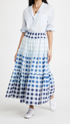 STAUD Laney Gingham Midi Skirt
