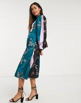 Liquorish ballon sleeve dress in mix floral print