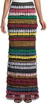 Alice + Olivia Merrill Tiered Tassel Embellished Maxi Skirt