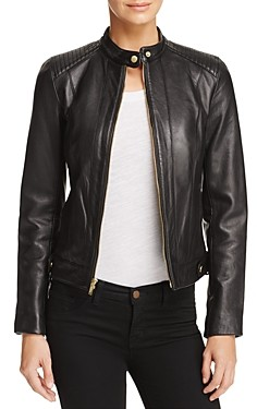 Cole Haan Leather Zip Jacket