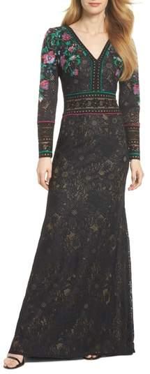 Tadashi Shoji Embroidered Lace A-Line Gown