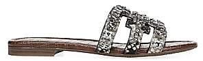 Sam Edelman Women's Bay Flat Crystal-Embellished Snakeskin-Embossed Sandals