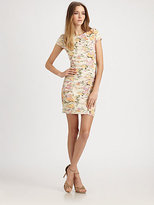 Torn By Ronny Kobo Torn Ruched Floral Knit Dress