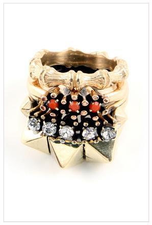 Iosselliani Four Stacked Brass Rings with Swarovski Stones