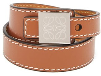 Loewe Logo-engraved Leather Wrap Bracelet - Brown