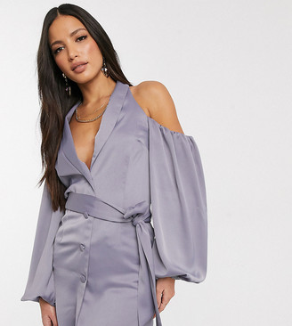 ASOS DESIGN Tall fallen shoulder satin long line blazer