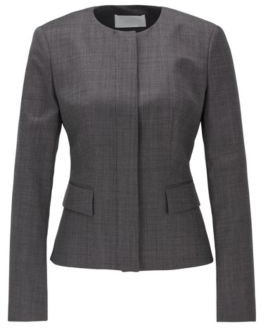 HUGO BOSS Collarless Slim Fit Jacket In Wool With Natural Stretch - Patterned
