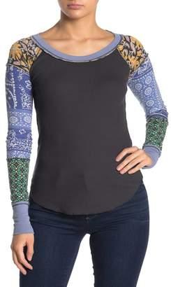 Free People Mixed Print Thermal Knit T-Shirt