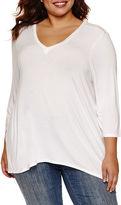 Boutique + + 3/4 Sleeve V Neck T-Shirt-Womens Plus