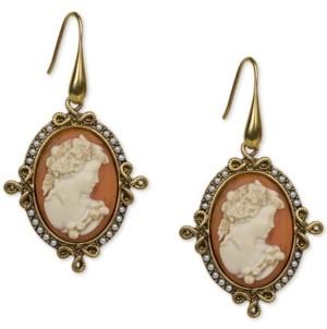 Patricia Nash Gold-Tone Imitation Pearl Cameo Medallion Drop Earrings
