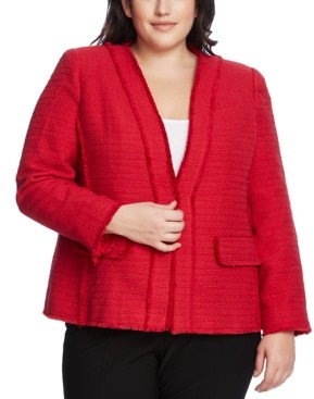 Vince Camuto Plus Size Cotton Tweed Kiss-Front Jacket