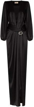 Alexandre Vauthier plunge-neck embellished-buckle gown