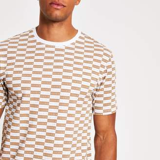 River Island Mens Brown Maison Riviera checkboard T-shirt