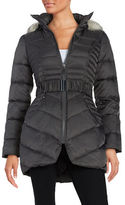 Betsey Johnson Faux Fur-Trimmed Hooded Belted Puffer Coat