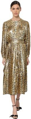 Marc Jacobs Leo Print Pleated Silk Lame Midi Dress