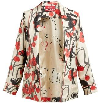 F.R.S For Restless Sleepers Armonia Pyjama Tie-waist Jacket - Red Multi