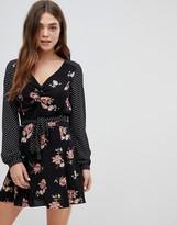 Brave Soul zoe floral and spot mix dress