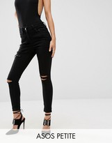 Asos Ridley Skinny Jeans in Black with Thigh Rip and Busted Knees