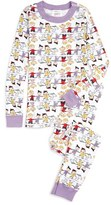 Hanna Andersson Girl's Peanuts Holiday Organic Cotton Fitted Two-Piece Pajamas