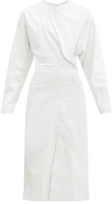 Isabel Marant Lazuli Panelled Leather Midi Dress - White