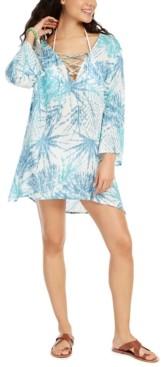 J Valdi Printed Lace-Up Swim Cover-Up Tunic Women's Swimsuit