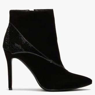 Df By Daniel Izip Black Suedette Diamante Zip Ankle Boots