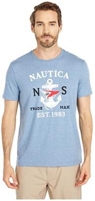 Nautica Anchor Flag Graphic Tee (Blue) Men's Clothing