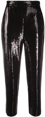 Karl Lagerfeld Paris Cropped Sequin Trousers