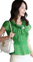 Double Plus Open DPO Women's Chiffon Ruffled Round Neck Tunic Tops Short Sleeve Blouse
