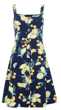 Dorothy Perkins Womens Navy Fruit Print Strappy Fit And Flare Dress