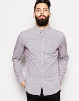 Farah Gingham Shirt With Dobby Slim Fit - Red