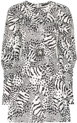 Rotate by Birger Christensen Tara monochrome print mini dress