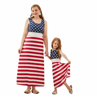 Yaffi Mommy and Me Matching Dress Independence Day American Stars Flag Striped Long Tank Maxi Dress Girl: 6-7 Years