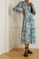 Thumbnail for your product : Jason Wu Collection Pussy-bow Tiered Floral-print Silk-chiffon Midi Dress - Blue