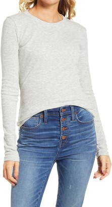 Madewell Women's Fine Ribbed Crewneck Long Sleeve Tee