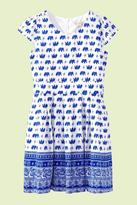 Yumi Girls Elephant Print Tea Dress Blue