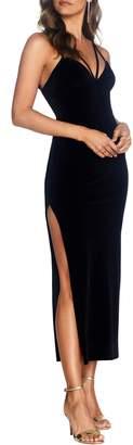 Dress the Population Cosmopolitan Amber Side Slit Velvet Dress