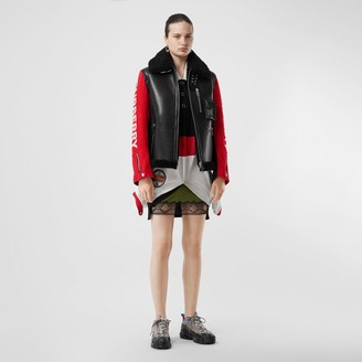 Burberry Contrast Sleeve Leather and Shearling Jacket