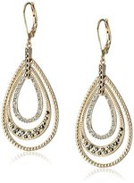 "Judith Jack Golden Class"" Sterling Silver and Gold-Tone Crystal Marcasite Tear-Drop Earrings"