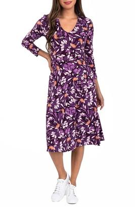 Leota Eliza Long Sleeve V-Neck Midi Dress