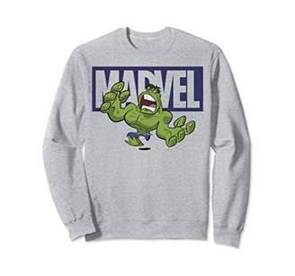 Marvel Hulk Chibi Action Pose Logo Outline Sweatshirt