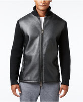 Armani Exchange Men's Mixed-Media Zip Bomber Jacket with Pockets & Elbow Patches