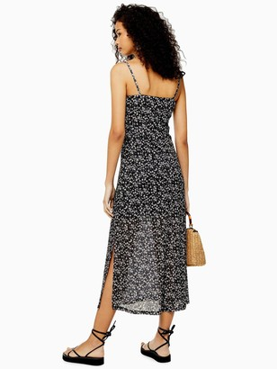 Topshop Tall Lace Insert Mesh Midi Dress - Black