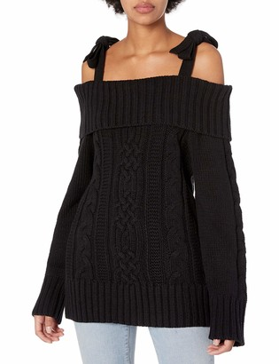 J.o.a. Women's Off The Shoulder Cable Sweater with Tie