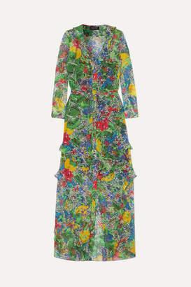 Saloni Izzie Ruffled Printed Silk-chiffon Maxi Dress - Green