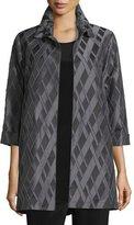 Caroline Rose 3/4-Sleeve Diamond Jacquard Topper Jacket, Petite